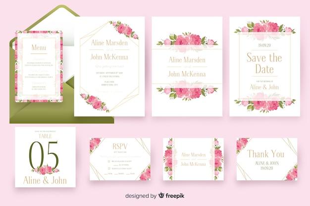 Paquete de plantillas de papelería de boda floral vector gratuito
