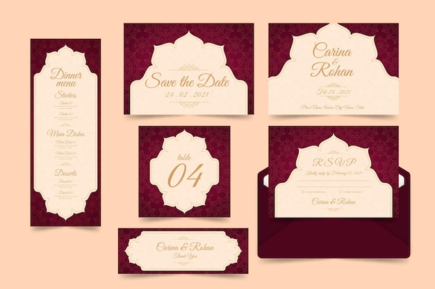 Paquete de plantillas de papelería de boda india Vector Premium