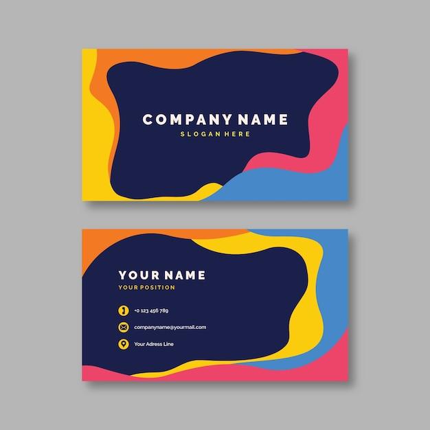 Paquete de plantillas de tarjeta de visita colorida abstracta vector gratuito