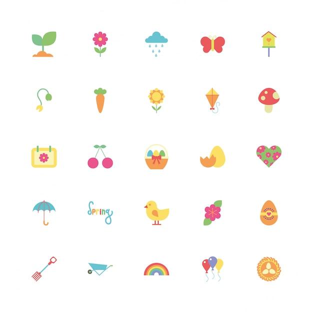 Paquete de primavera set iconos Vector Premium