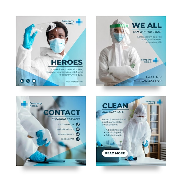 Paquete de publicaciones de instagram de coronavirus degradado vector gratuito