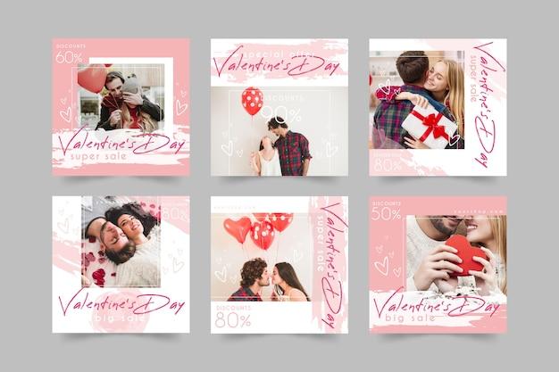 Paquete de publicaciones de instagram del día de san valentín vector gratuito