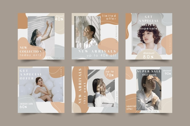 Paquete de publicaciones de redes sociales de venta de moda vector gratuito