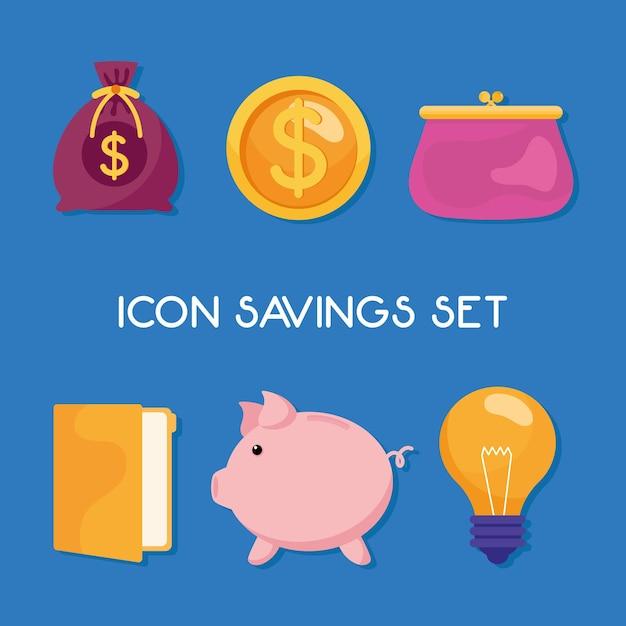 Paquete de seis iconos de conjunto de gestión de ahorros e ilustración de letras Vector Premium