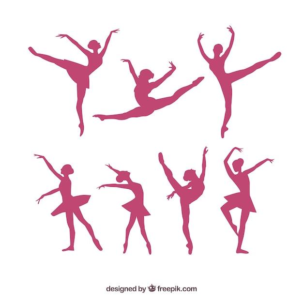 Paquete de siluetas de bailarina vector Vector Premium