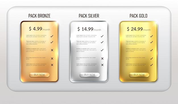 Paquete de tabla de precios web de botones Vector Premium