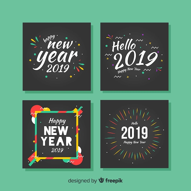 Paquete tarjetas año nuevo marcos coloridos vector gratuito