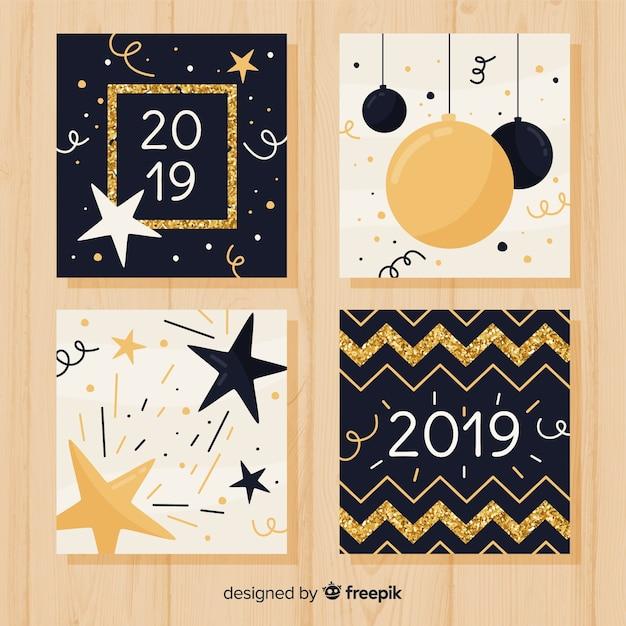 Paquete tarjetas año nuevo purpurina dorada vector gratuito