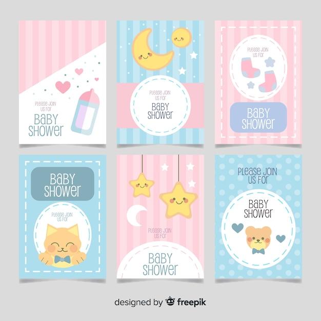 Paquete tarjetas baby shower elementos monos vector gratuito