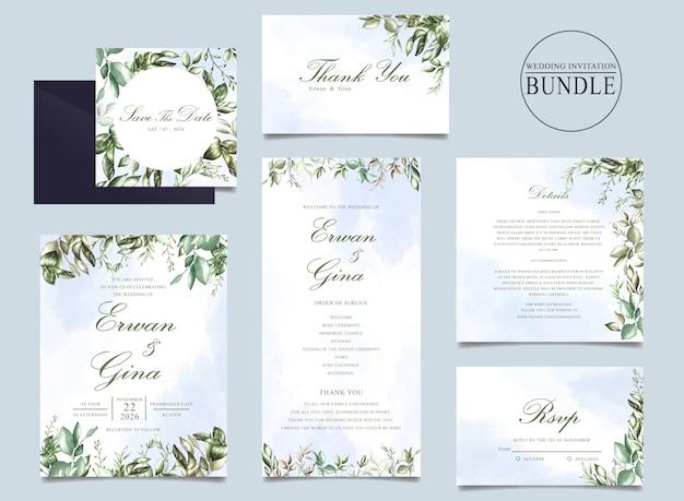 Paquete de tarjetas de invitación de boda con plantilla de hojas verdes Vector Premium