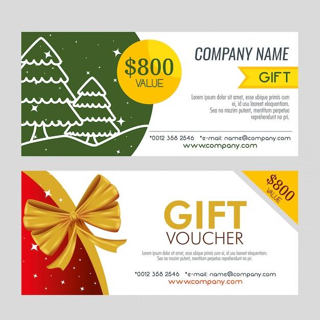 Par de cupones de regalo de navidad vector gratuito