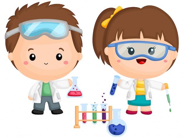 Un par de niños haciendo experimento de química | Vector Premium
