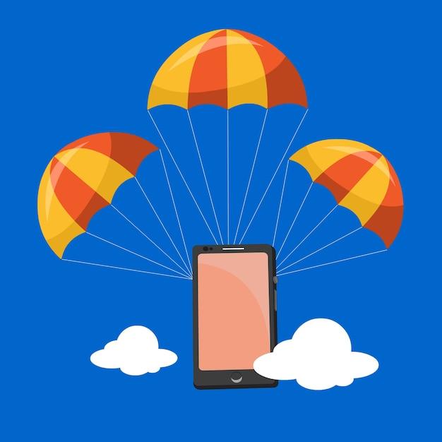 Paracaídas móvil | Descargar Vectores Premium