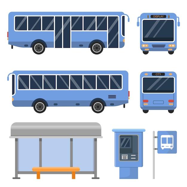 Parada de autobús y varias vistas de autobuses. Vector Premium
