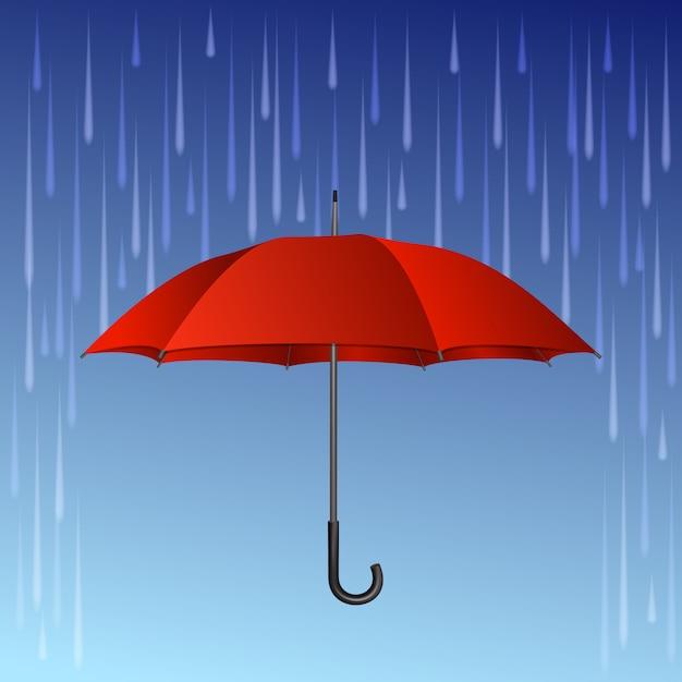 Paraguas Rojo Y Gotas De Lluvia Vector Premium