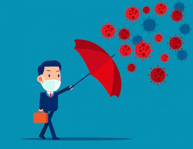Paraguas rojo protección coronavirus. covid-19   Vector Premium