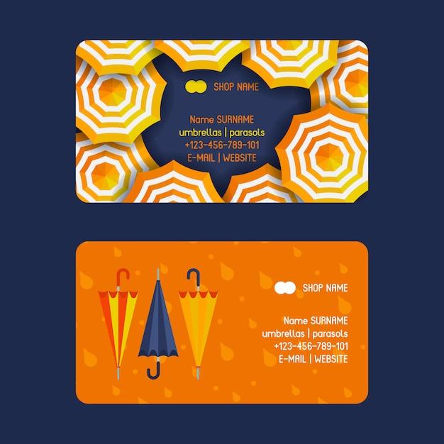 Paraguas y sombrillas conjunto de plantillas de tarjetas de visita abiertas y cerradas Vector Premium