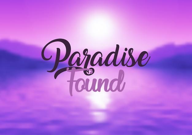 Paraíso encontrado cita fondo vector gratuito