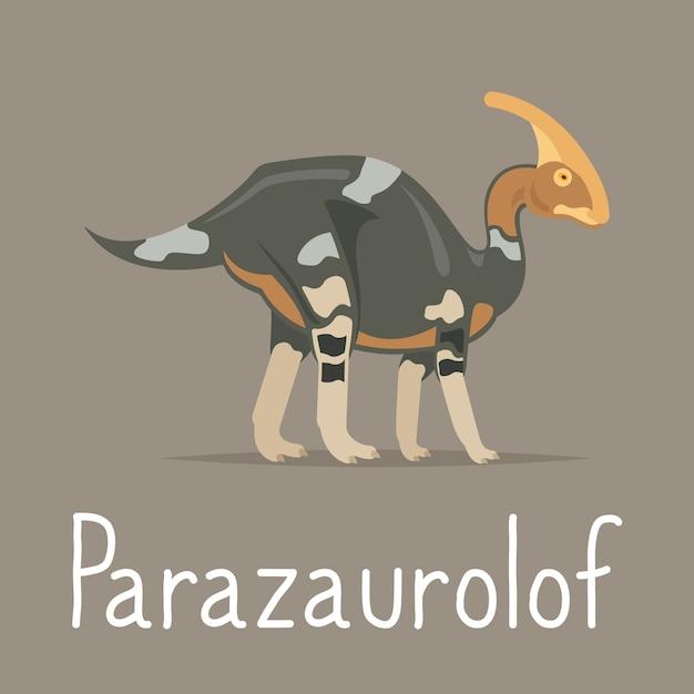 Parazaurolof dinosaurio tarjeta colorida Vector Premium