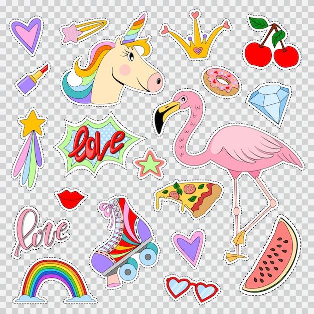 Parches y pegatinas de moda con unicornio, flamencos, arco iris, labios, pintalabios, patines, estrellas, corazones, etc. iconos de comic de dibujos animados vector conjunto aislados Vector Premium