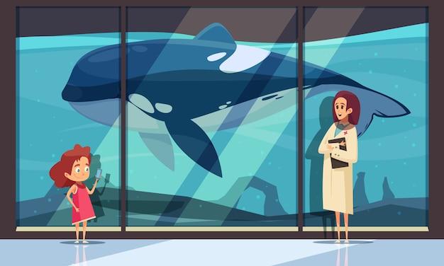 Pared del acuario con una orca vector gratuito