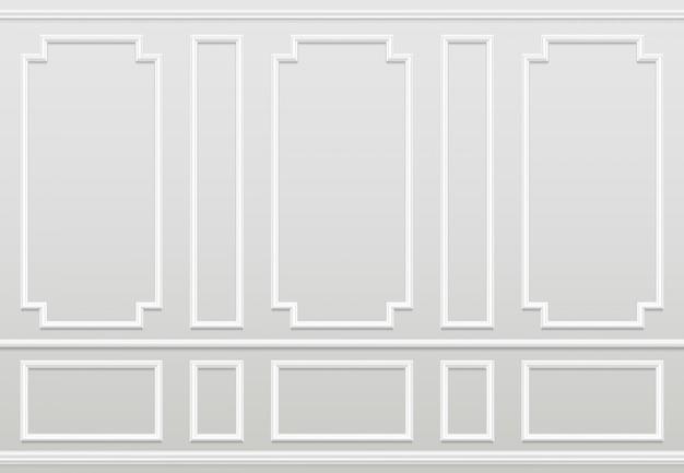 Pared blanca vacía moldura de paneles de decoración del hogar clásico. interior de vector de sala de estar Vector Premium