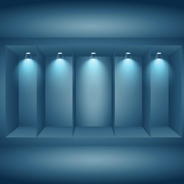 Pared de exhibicin con luces Descargar Vectores gratis