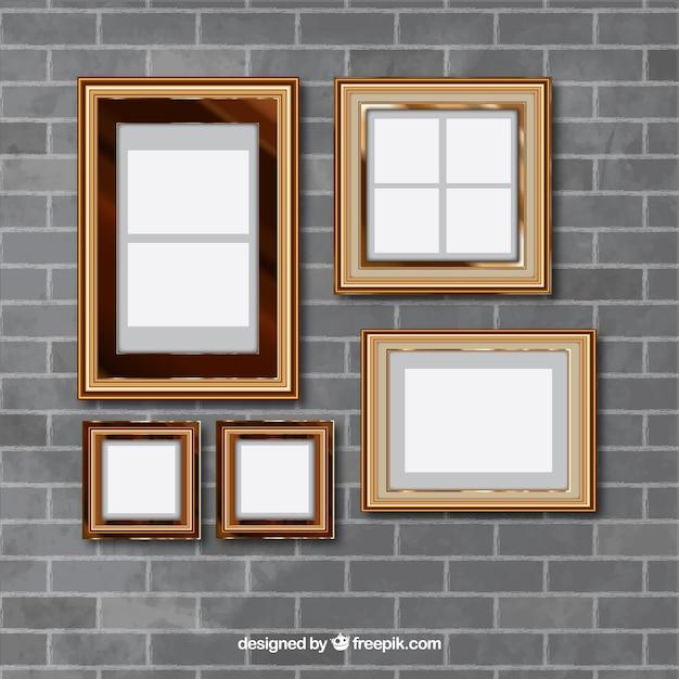 Pared de ladrillos con marcos de foto vintage descargar - Marcos para pared ...