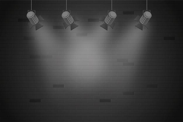 Pared de ladrillo con fondo de luces puntuales vector gratuito