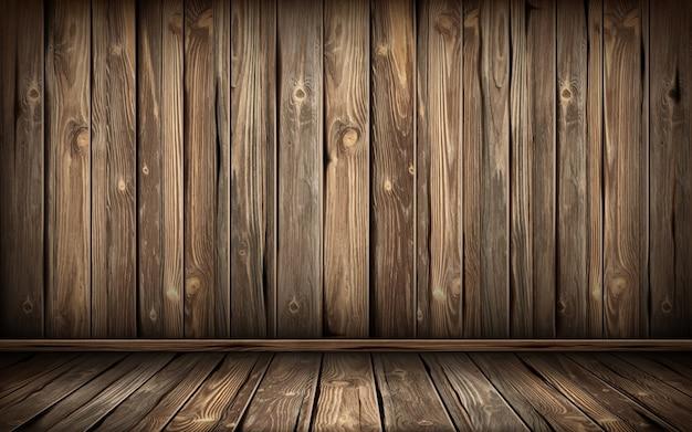 Pared y piso de madera con superficie envejecida, realista vector gratuito