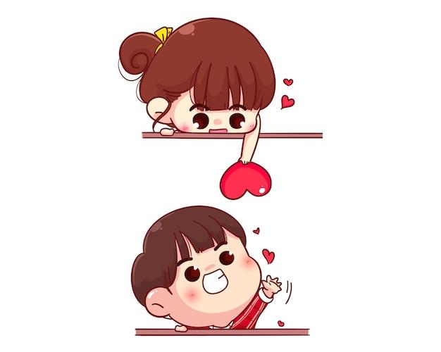 Pareja de amantes enviando corazón, feliz día de san valentín, ilustración de personaje de dibujos animados vector gratuito