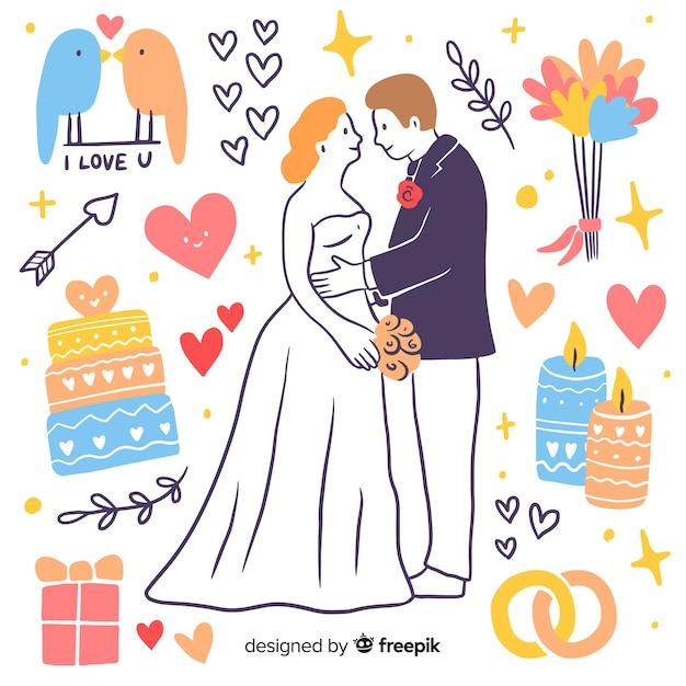 Pareja de boda dibujada a mano con elementos vector gratuito