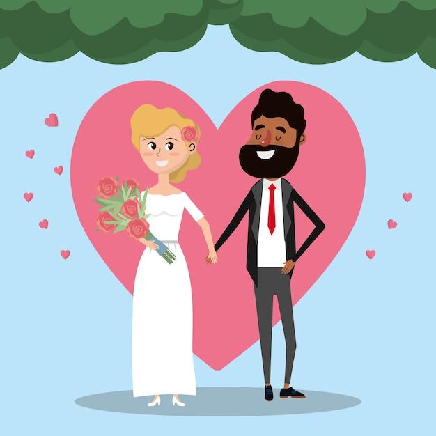 Pareja casada con flores corazón y ramo Vector Premium