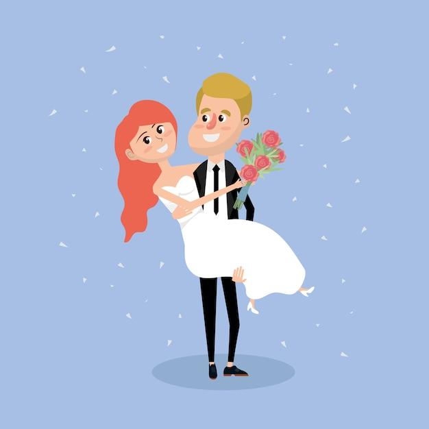 Pareja casada con ramo de flores en la mano Vector Premium