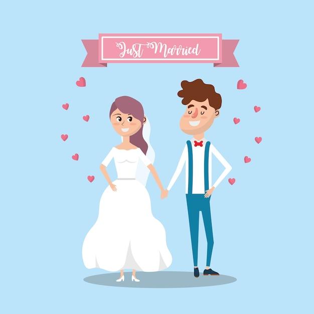 Pareja se casó con diseño de cinta y corazones Vector Premium