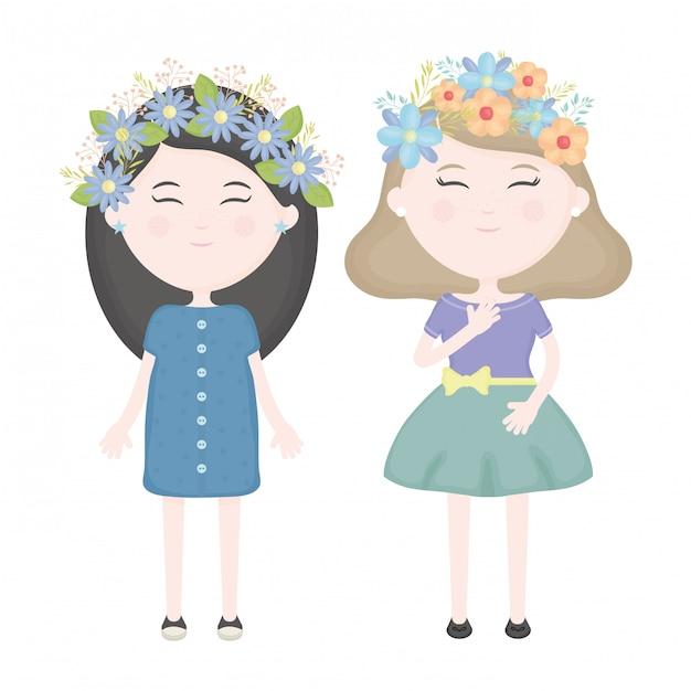 Pareja de chicas lindas con corona floral en los personajes del cabello. vector gratuito