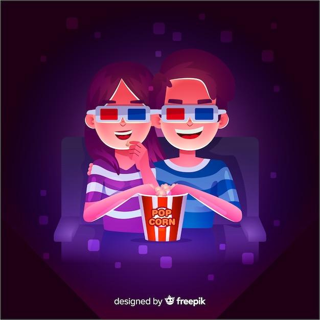 Pareja en el cine vector gratuito