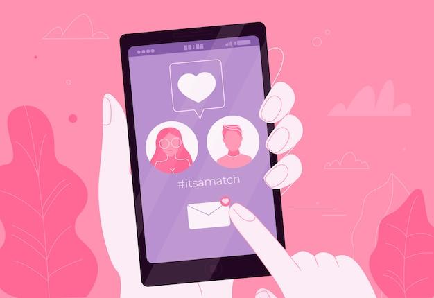 Pareja De Citas En Línea En El Amor En La Aplicación En El