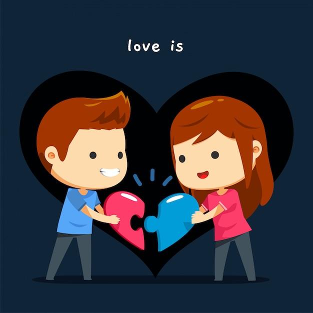 Una pareja coincide con su rompecabezas del corazón.