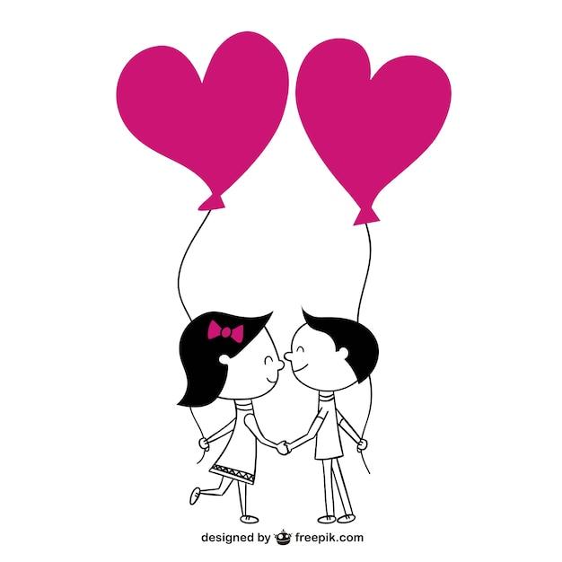 Pareja con globos de corazones | Descargar Vectores gratis