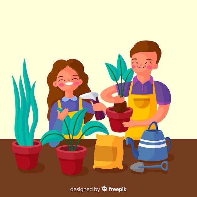 Pareja cuidando de las plantas vector gratuito