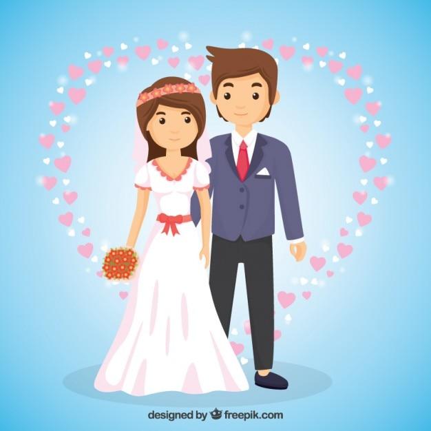 Pareja de boda enamorada en estilo de dibujos animados