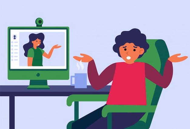 Pareja discutiendo durante el chat de video en línea vector gratuito