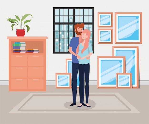 Pareja de embarazo en casa vector gratuito