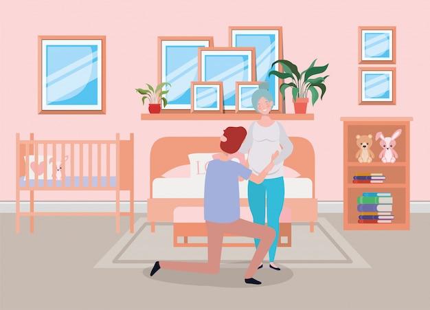 Pareja de embarazo en escena dormitorio vector gratuito