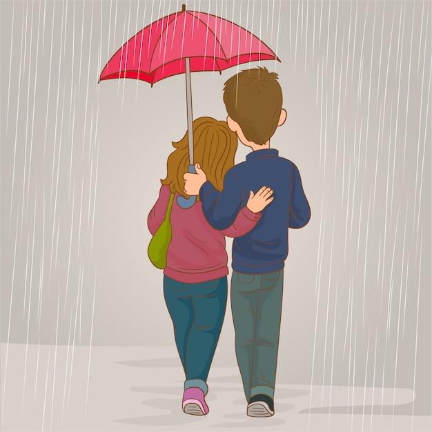 Pareja de enamorados en la lluvia Vector Premium