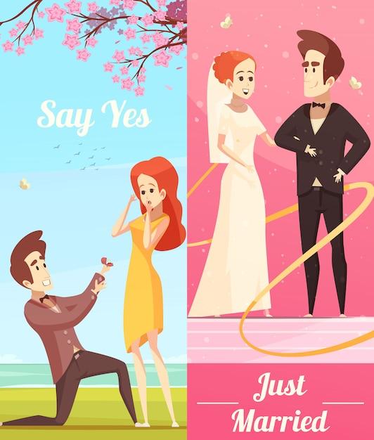 Pareja de enamorados pancartas verticales vector gratuito