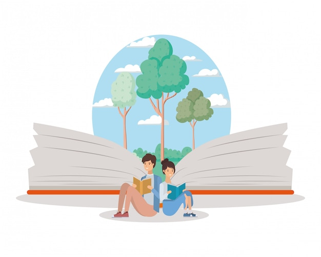 Pareja de estudiantes leyendo libros Vector Premium
