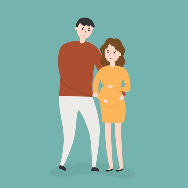 Pareja feliz con mujer embarazada vector gratuito