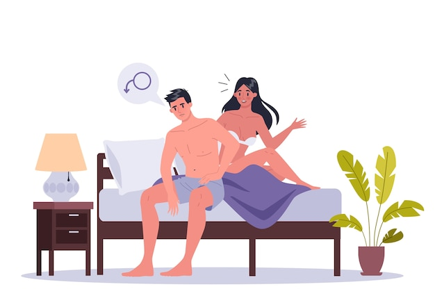 Pareja de hombre y mujer acostados en la cama. de problema exual o íntimo entre parejas sentimentales. disfunción sexual y malos entendidos de comportamiento. Vector Premium